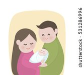 happy family with  cute new... | Shutterstock .eps vector #531286996