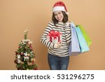 beautiful christmas girl in... | Shutterstock . vector #531296275