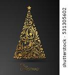 stylized golden christmas tree... | Shutterstock .eps vector #531305602