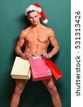young handsome macho santa man... | Shutterstock . vector #531313426