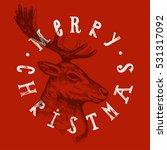 christmas deer etching label....