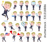 set of various poses of blond... | Shutterstock .eps vector #531318886