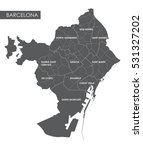 vector map barcelona district | Shutterstock .eps vector #531327202