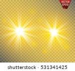 set of golden glowing lights... | Shutterstock .eps vector #531341425