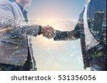 business people handshaking on... | Shutterstock . vector #531356056