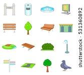 park icons set. cartoon... | Shutterstock . vector #531360892