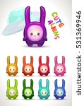cute colorful aliens with long...