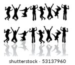 funny jumping teenager   vector | Shutterstock .eps vector #53137960