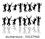 funny jumping teenager   vector | Shutterstock .eps vector #53137960