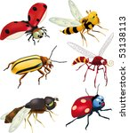 group of insects of cartoon...