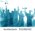 graduation in silhouette in... | Shutterstock .eps vector #531382432