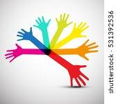 colorful hands vector | Shutterstock .eps vector #531392536