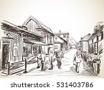 people on cozy town street ... | Shutterstock .eps vector #531403786