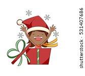 little girl opening christmas...   Shutterstock .eps vector #531407686