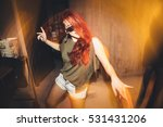 young woman dancing at the party | Shutterstock . vector #531431206