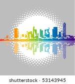 rainbow city vector background | Shutterstock .eps vector #53143945