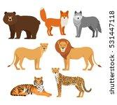 Stock vector predatory animals set wolf bear fox tiger lion cheetah isolated 531447118
