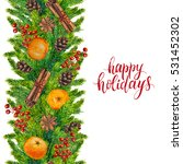 happy holidays text with... | Shutterstock . vector #531452302