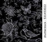 exotic flowers  butterflies and ... | Shutterstock .eps vector #531453022