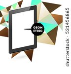 tablet pc icon with geometric... | Shutterstock .eps vector #531456865