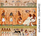 Ancient Egypt Scene. Murals...