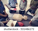 cpr first aid training concept | Shutterstock . vector #531486172