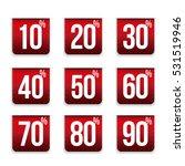 percent off set ribbon red | Shutterstock .eps vector #531519946