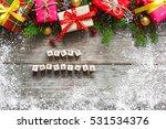 merry christmas inscription on... | Shutterstock . vector #531534376