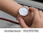 girl's hand with wrist watch in ...   Shutterstock . vector #531593782