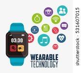 blue smart watch wearable... | Shutterstock .eps vector #531607015