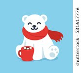 cute cartoon polar bear in red... | Shutterstock .eps vector #531617776