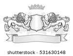 crest with two lions  a shield... | Shutterstock .eps vector #531630148
