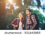 young couple go adventure... | Shutterstock . vector #531643885