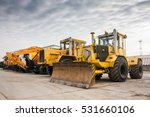 two heavy wheeled tractor one... | Shutterstock . vector #531660106