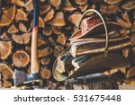 copper stack of firewood and... | Shutterstock . vector #531675448