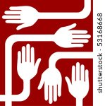 a united group of hands vector. | Shutterstock .eps vector #53168668