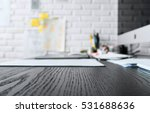 wood working table in black and ... | Shutterstock . vector #531688636