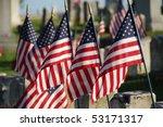 Flags In Veterans Cemetery