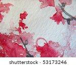 Cherry Blossoms Watercolor 2 - stock photo