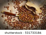 black coffee beans | Shutterstock . vector #531733186