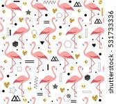 Flamingos. Cute Trendy Seamles...
