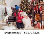 happy girl with samoyed husky...   Shutterstock . vector #531737326