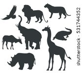 vector black icons of animals... | Shutterstock .eps vector #531744352