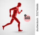 3d running man  red colored.... | Shutterstock .eps vector #531766666