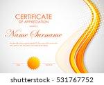 certificate of appreciation... | Shutterstock .eps vector #531767752