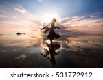 elegant woman dancing on water. ... | Shutterstock . vector #531772912