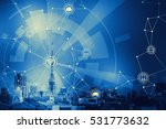 duotone graphic of smart city... | Shutterstock . vector #531773632