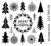 christmas set. trees ... | Shutterstock .eps vector #531789136