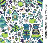 doodle style forest pattern.... | Shutterstock .eps vector #531791212