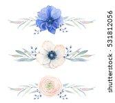 elegant watercolor flower... | Shutterstock . vector #531812056